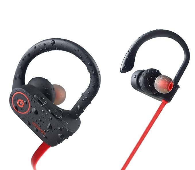 9f655ec551b Bluetooth Headphones - SHREBORN Best Wireless Sports Earphones with Mic  IPX7 Waterproof Sweatproof HD Noise Cancelling