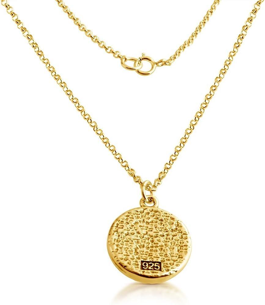 AZAGGI Gold Plated Sterling Silver Handcrafted Illuminati Circle Pendant Necklace 12