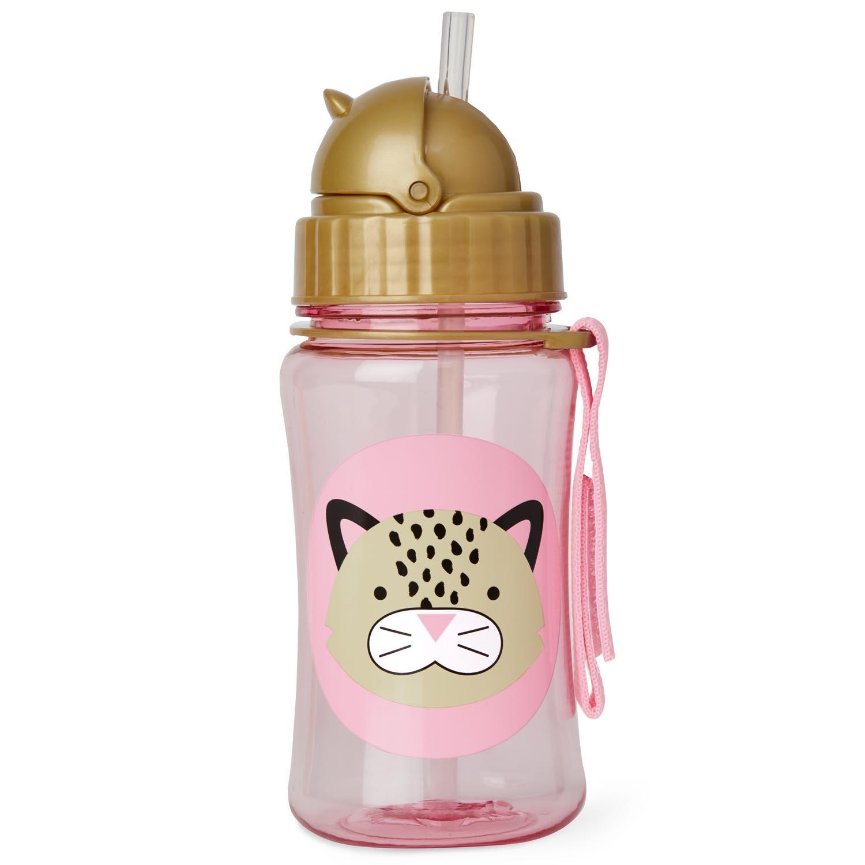Skip Hop Zoo Straw Bottle, Holds 12 oz, London Leopard