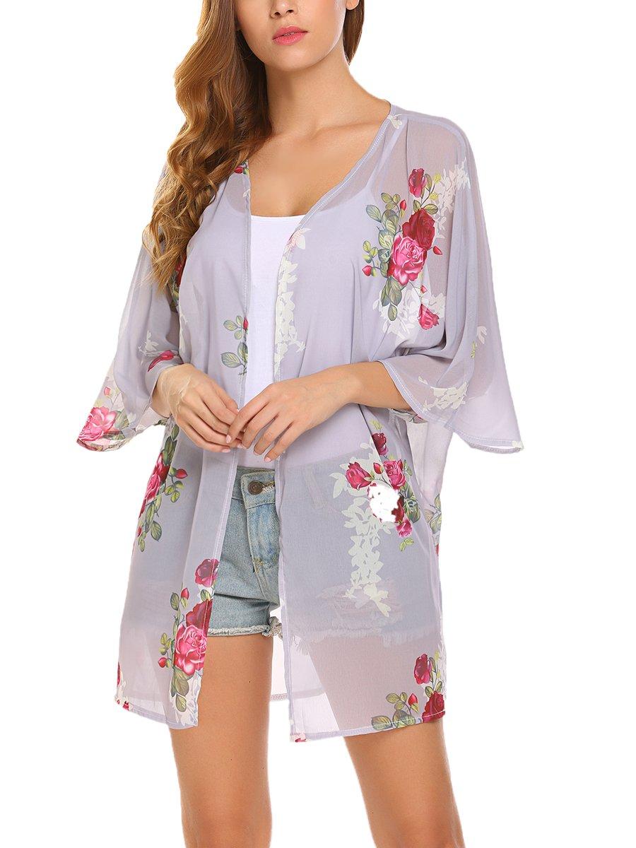 BLUETIME Fashion Women Chiffon Bikini Cover up Kimono Cardigan Coat Bathing Swimwear (XL, Gray)
