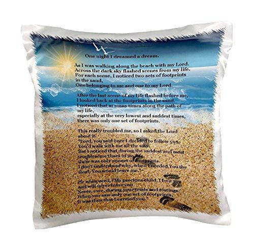 3dRose pc 204469 1 Footprints Beach Pillow