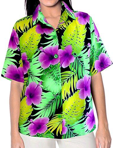 La Leela señoras florales la vendimia botón la manga corta hacia abajo 4 en 1 Hawaii partido eventuales día fiesta sala estar más regalo blusa regular fit vestido la tapa camisa hawaiana violeta likre Violeta