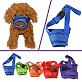 YAMAY Nylon Mesh Adjustable Velcro Dog Muzzles for Barking, Biting and Chewing, S , Blue