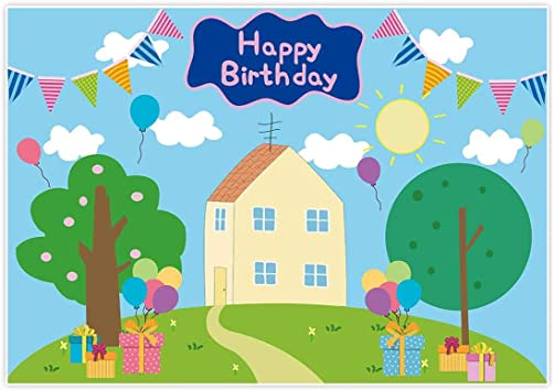 Amazon Com Allenjoy 7x5ft Happy Birthday Party Backdrop Favors Cartoon House Trees Street Sky Flags Props Photography Baby Shower Kids Boys Prince Celebration Photo Booth Studio Props Banner Decorations Supplies Camera