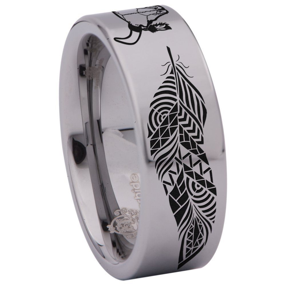 Silver Tungsten Carbide Cow Skull and Feathers Ring 8mm Wedding Band Anniversary Ring for Men and Women Size 12.5