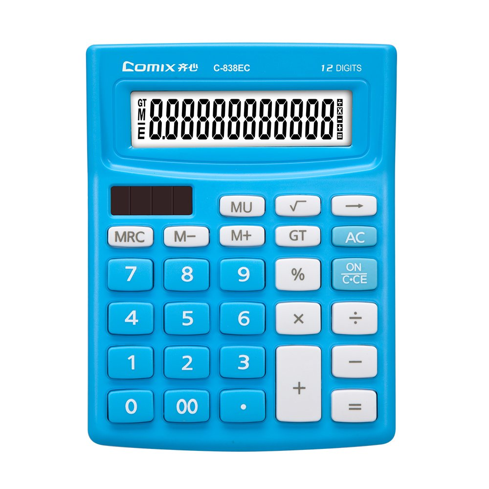 Comix Calculator, 12 Digit,Calculator for Office/School/Home(C-838EC) (Blue) by Comix