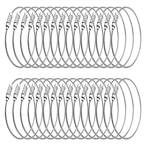 Hulless 30 pcs Stainless Steel Wire Keychains 1.5mm Cable 6.3 Inch Key Ring Loops for Hanging Luggage Tags or ID Tags.