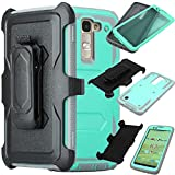 LG K7 / Tribute 5 Case, SOGA® [Tri-Guard Series] Shockproof Hybrid Armor Protective Case Cover with Belt Clip Holster & Built-in Screen Protector for LG K7 / Tribute 5 - Teal / Grey