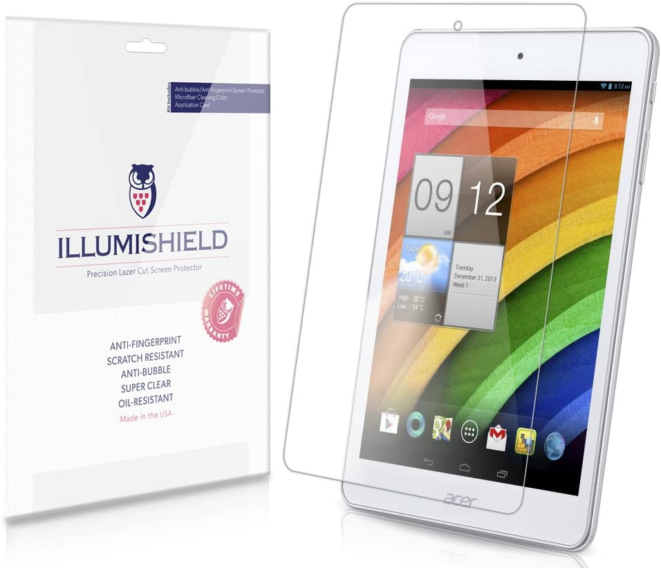 iLLumiShield Screen Protector Compatible with Acer Iconia A1-830 8 inch (2-Pack) Clear HD Shield Anti-Bubble and Anti-Fingerprint PET Film