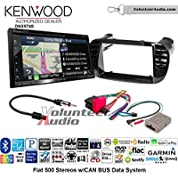 Volunteer Audio Kenwood DNX574S Double Din Radio Install Kit with GPS Navigation Apple CarPlay Android Auto Fits 2012-2015 Fiat 500 (Black)