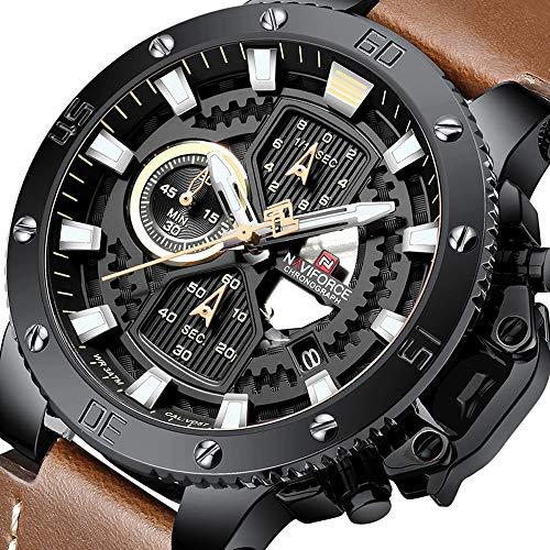 (NAVIFORCE Mens Sport Quartz Watch Chronograph Analog Leather Waterproof Watches Luxury Casual Business Wristwatch)