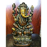 Ganesha Statue God Ganesh Idol Brass Statue Yoga Hindu Sculpture 9""