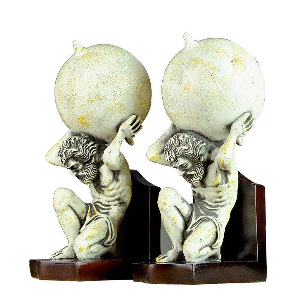 LPY-Set of 2 Bookends Resin Archimedes Statue Style Handicrafts, Book Ends for Office or Study Room Home Shelf Decorative