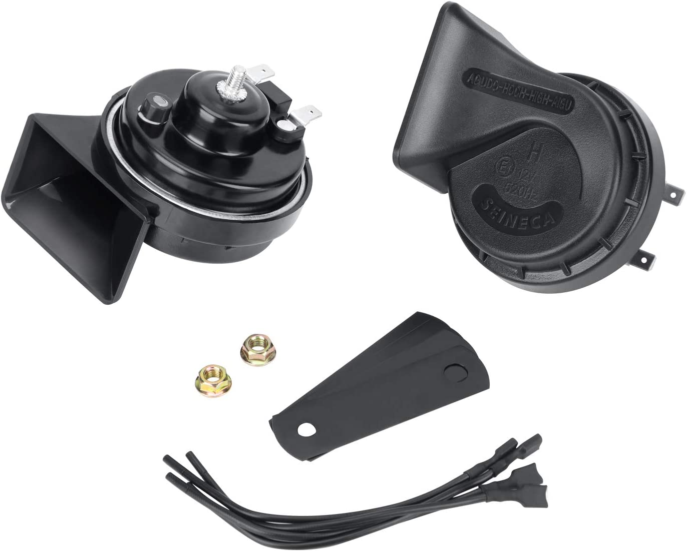 Snail Car Horn Waterproof 12V Loud Dual-Tone Electric Horn Kit Universal Fit,12v Auto Horn Kit High//Low Tone Black for Truck Car Motorcycle etc