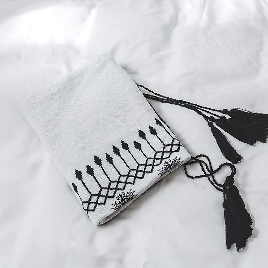 WJ 毛布, 高級ソフトウォームオーバーソファベッドブランケット、 ポリエステル、 ラグジュアリーマイクロファイバーブランケット、 白、130 * 160cm (色 : Black and white) B07LG635Z5 Black and white