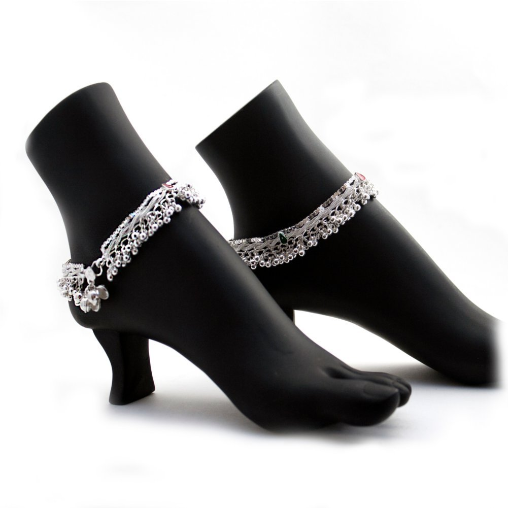 Duel on Jewel Ethnic Pakistani Indian Silver Tone Payal Anklet Pair Curved Edges with Colorful Beads