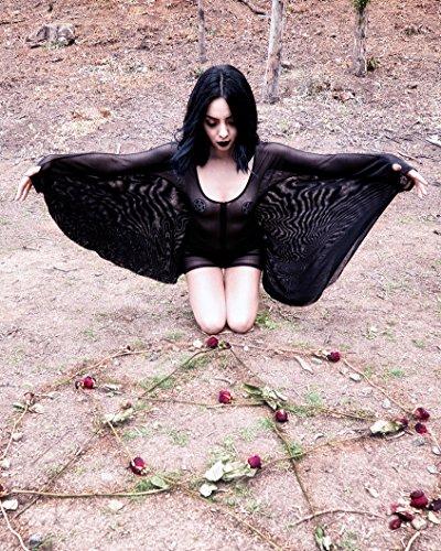 54f8d61df1b iHeartRaves Black Sheer Mesh Zip-Up Dark Angel Romper with Wings (Small)