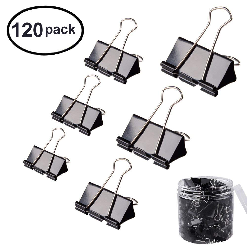 FICBOX 120 Pcs Black Binder Clips Paper Clamp - 6 Sizes
