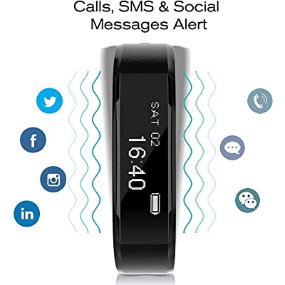 ANCHEER Fitness Tracker, Activity Tracker Heart Rate Monitor Step/Sleep/Calorie Counter Call/SMS Reminder Bracelet Band Waterproof Wireless Bluetooth Wristband Pedometer Smart Watch: Sports & Outdoors