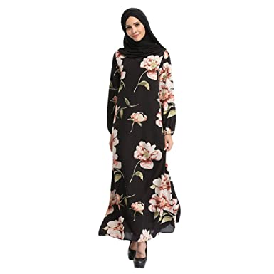 Hzjundasi Malaysia Bohemia Style Kaftan Flowers Chiffon Maxi Dress Long Sleeve Abaya Islamic Evening Gown Muslim