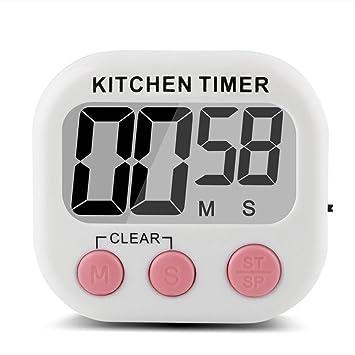 Compra Giancomics temporizador digital para la cocina, pantalla LCD grande, magnético, con función de despertador, cronómetro y alarma, funciona con batería ...
