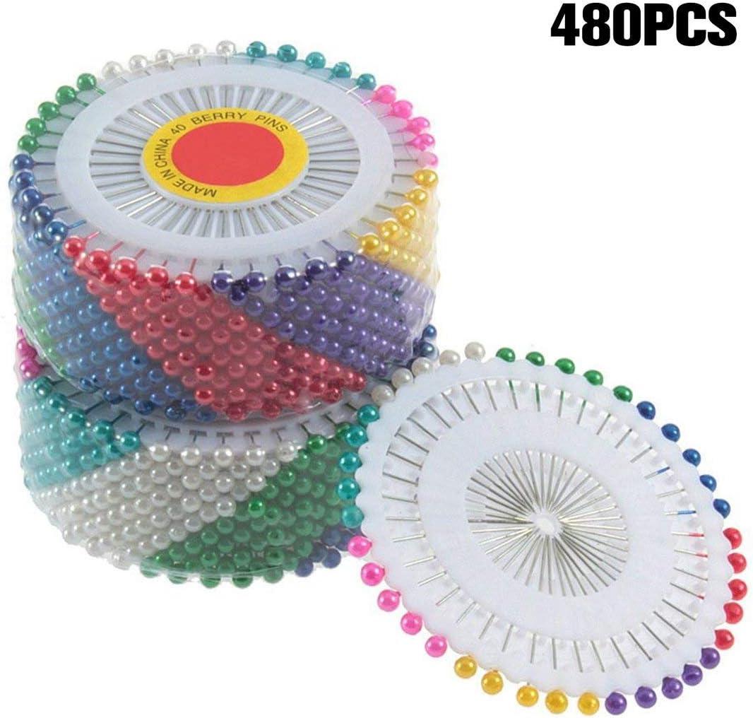 Pennytupu 480Pcs Multi Round Pearl Head Dressmaking Pins Weddings Corsage Florists Sewing Tools Women Mini Ball Handmade Crafts Accessory