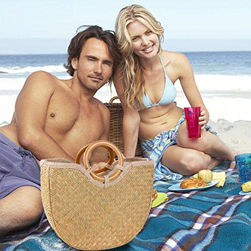 grande paja mano la de retro de de rota 1 de cesta playa cheerfulus flor la la para Estilo totalizador de la de de la la mujer Bolso del cesta bolso vEPtOaqw