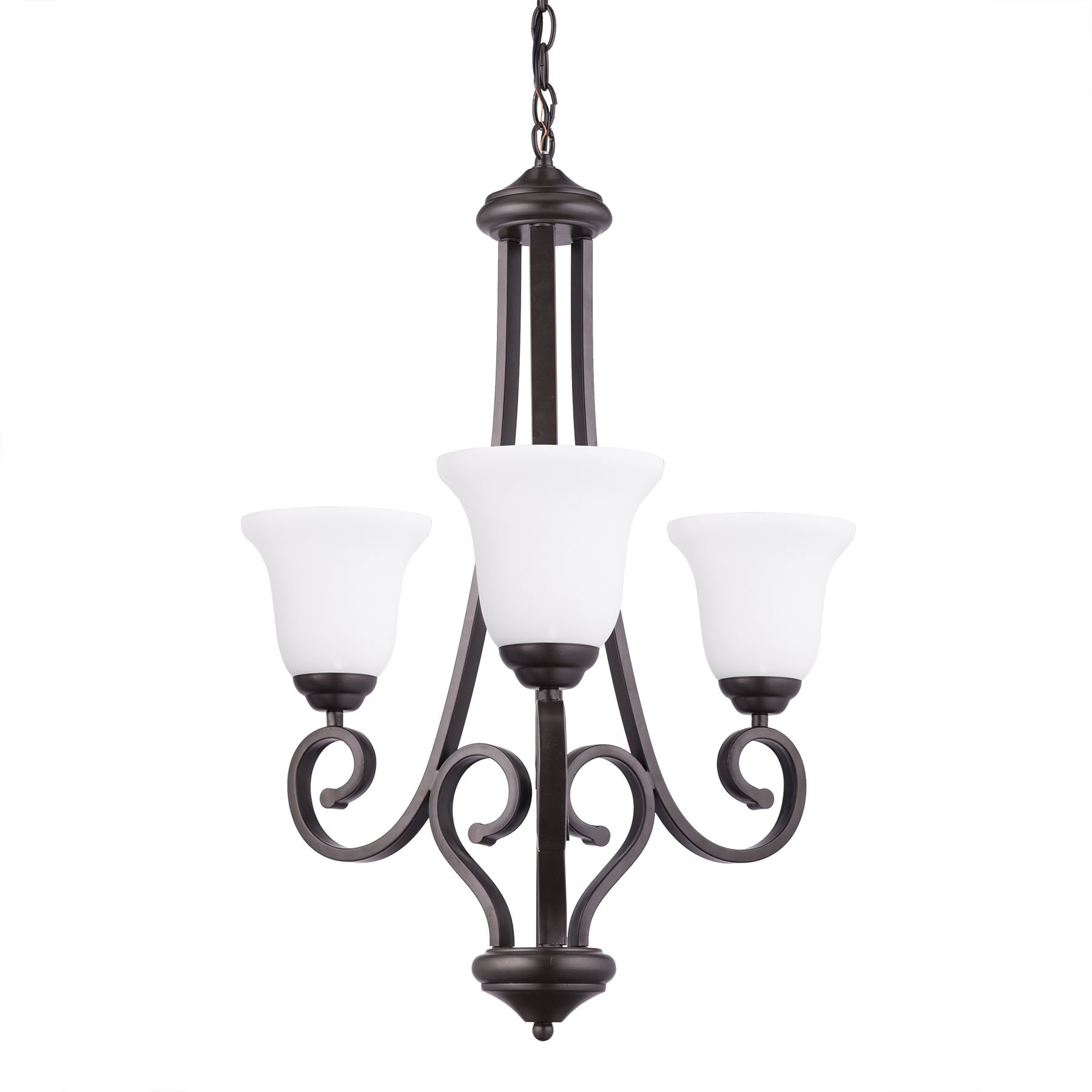 CO-Z Oil Rubbed Antique Bronze 3-Light Chandelier, 3 Light Ceiling Lighting Fixture with Satin Etched Cased Opal Glass Shade, Hanging Pendant Light for Living Room Dining Room Foyer Hallway Bedroom
