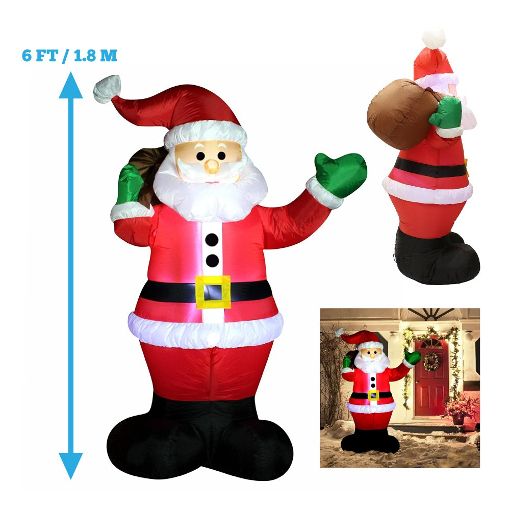 Joiedomi 6 Foot Inflatable Santa Claus; LED Light Up Giant Christmas Xmas Inflatable Santa Claus Carry Gift Bag for Blow Up Yard Decoration, Indoor Outdoor Garden Christmas Decoration by