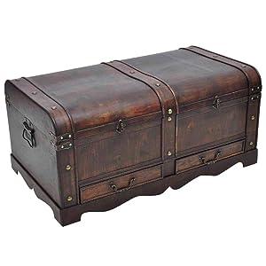vidaXL Large Wood Treasure Drawer Blanket Storage Chest Vintage Coffee Table