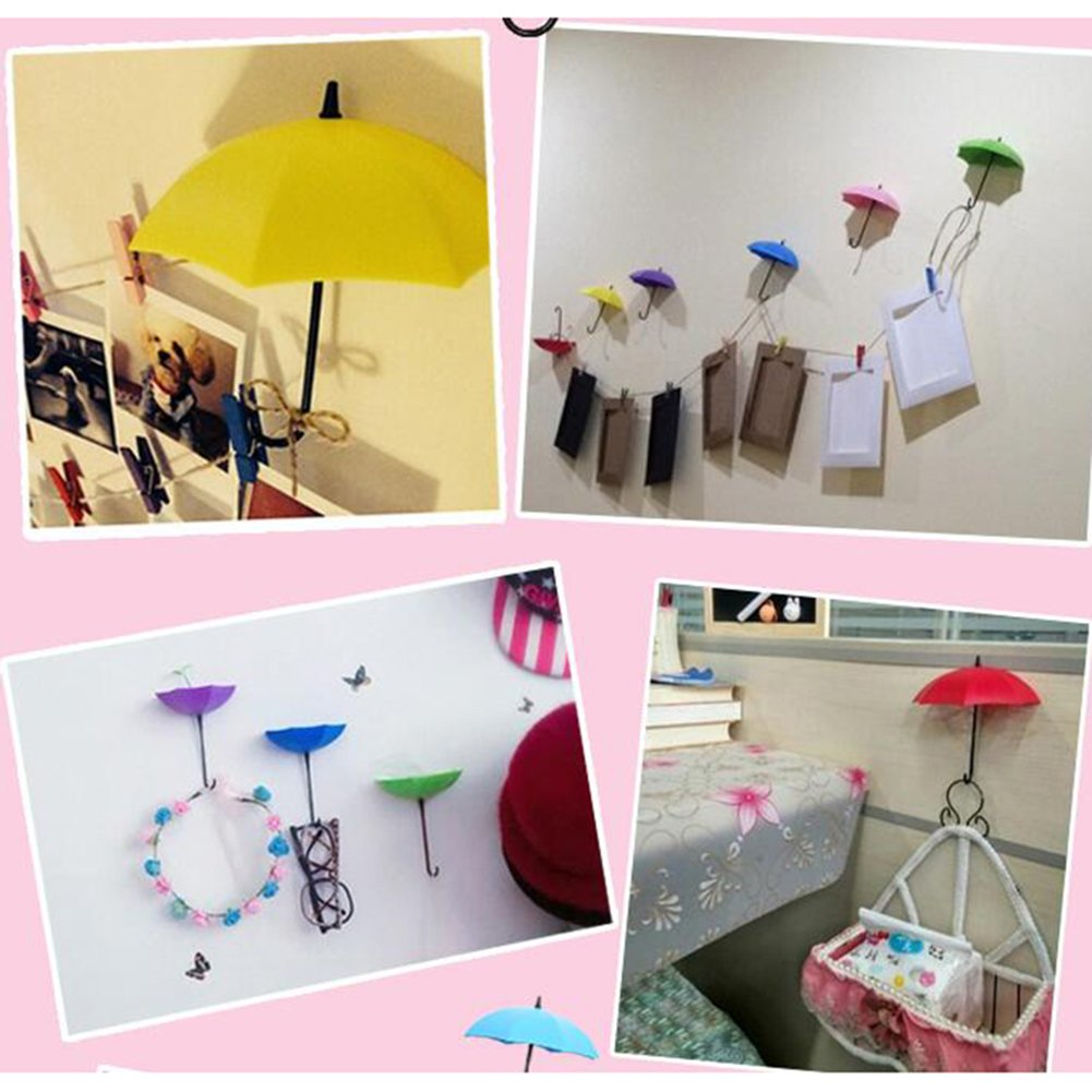 6Pcs//Set Cute Umbrella Wall Mount Key Holder Creative and Colorful Wall Hook Hanger Organizer Durable Sticky Hook