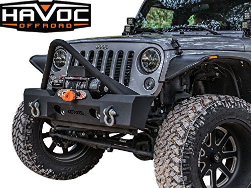 Havoc Offroad GEN 2 Metal Masher Stubby Front Bumper w/ Stinger 2007-2017 Jeep JK Wrangler and Factory Fog Light Cut Outs