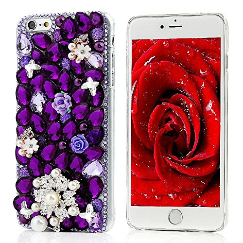KAKA(TM) Pearls Snowflake Butterfly Style Bling Purple Crystal Rhinestone Clear Back Cover Hard Case for iPod Touch 5th