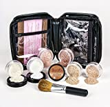 Sheer Cover Best Deals - XXL KIT with BRUSH & CASE Full Size Mineral Makeup Set Bare Skin Powder Foundation Cover (Warm (most neutral))