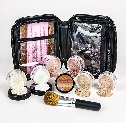 XXL KIT with BRUSH & CASE Full Size Mineral Makeup Set Bare Skin Powder Foundation Cover (Fair Shade 2) (Wholesale Mineral Cosmetics)