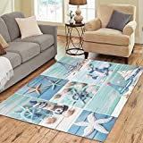 Cheap InterestPrint Ocean Summmer Seashells Area Rug Carpet 7 x 5 Feet, Beach Star Fishes Blue Modern Floor Rugs Mat for Office Home Living Dining Room Decoration