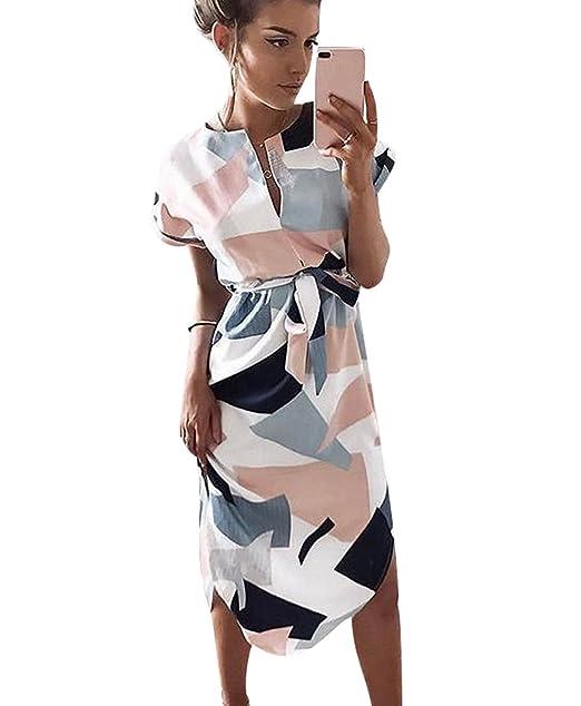 ISSHE Vestidos Cuello V Sueltos de Gasa Largos Vestido de Verano Casuales Mujer Vestidos Playeros Estampados