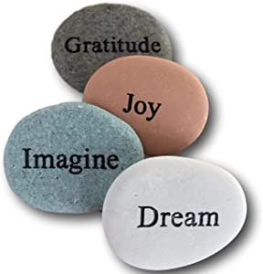 Dream Gratitude Imagine Joy Engraved Stones - 4 Stone Set