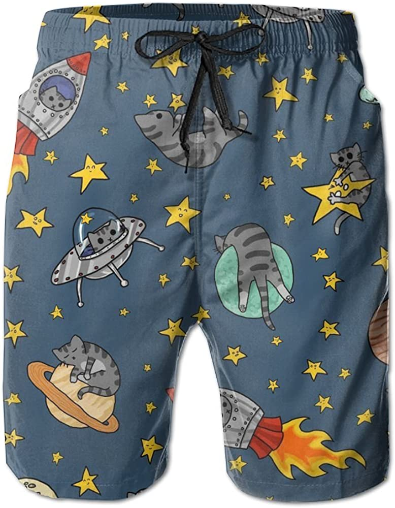 Astro Cats Mens Beach Shorts with Pockets Quick Dry Summer Shorts Swim Trunks