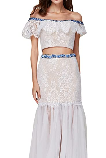 Gorgeous Bride Ivory Off the Shoulder Princess Formal Dresses Two Pieces: Amazon.co.uk: Clothing
