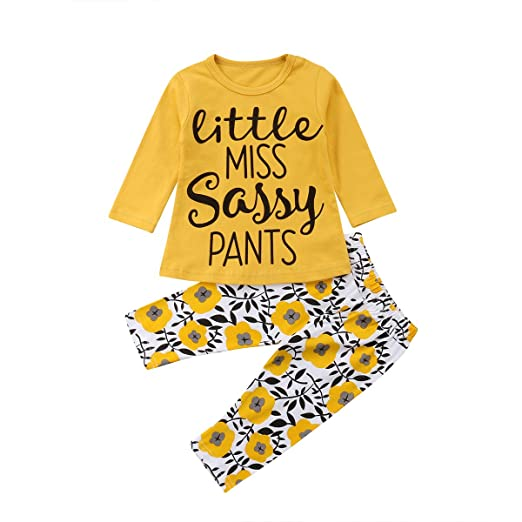 03890f1a Toddler Baby Girl Outfits Long Sleeve Little Miss Sassy Pants T-Shirt Tee  Tops Floral