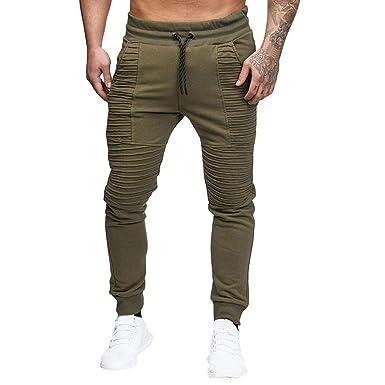 de3bd9c8f45a8 Pantalon de Jogging Rétro Homme,Overdose Pantalons Cargo Slim Automne Hiver  Casual Skinny Stretch avec