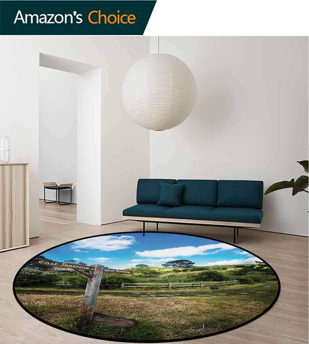 RUGSMAT Hobbits Round Area Rugs,Rustic Wooden Sign in Hobbit Land East West Movie Set New Zealand The Shire Super Soft Living Room Bedroom Home Shaggy Carpet,Diameter-71 Inch Green Brown
