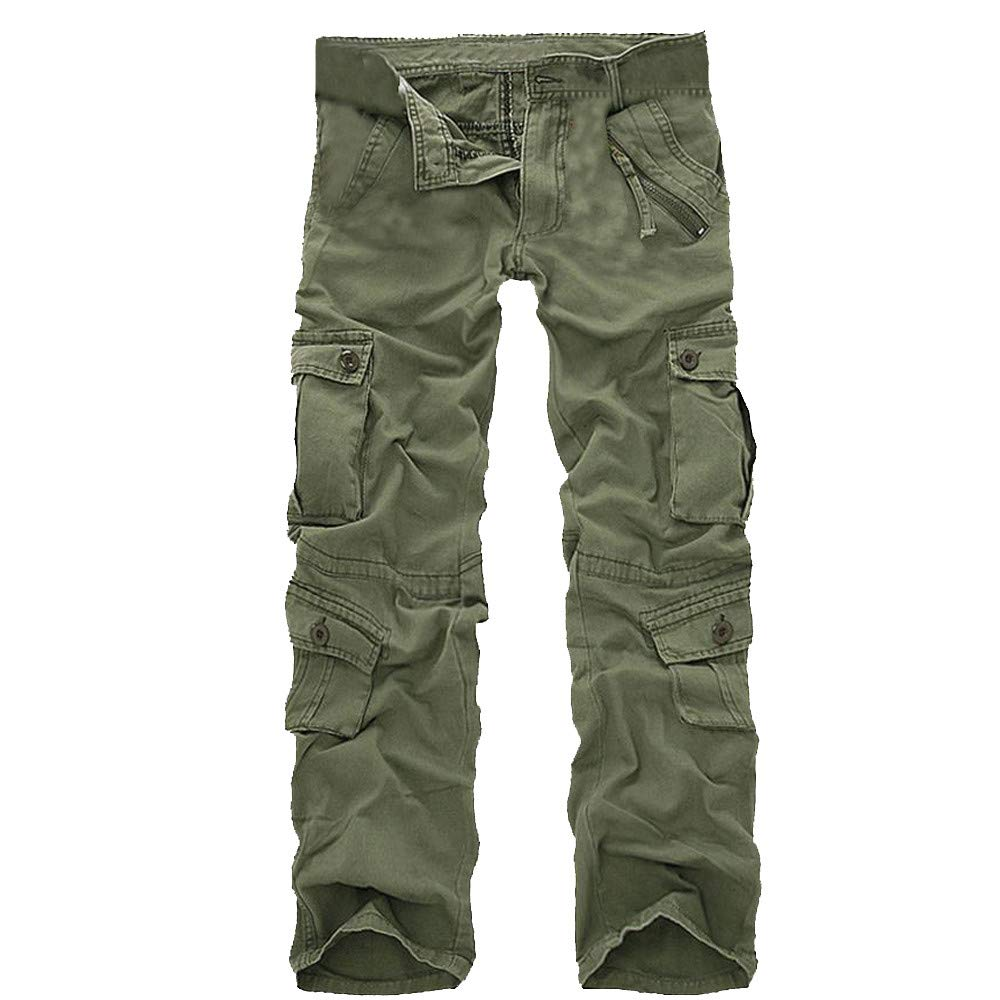 Allywit Mens Outdoor Woodland Military Cargo Pant Big Tall Travel Hiking Runnig