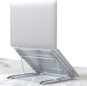 Laptop Stand, Tablet Laptop Holder Stand Foldable Ventilated Adjustable Laptop Computer Holder Desk Stand Universal Lightweight Ergonomic Tray Cooling (Silver)