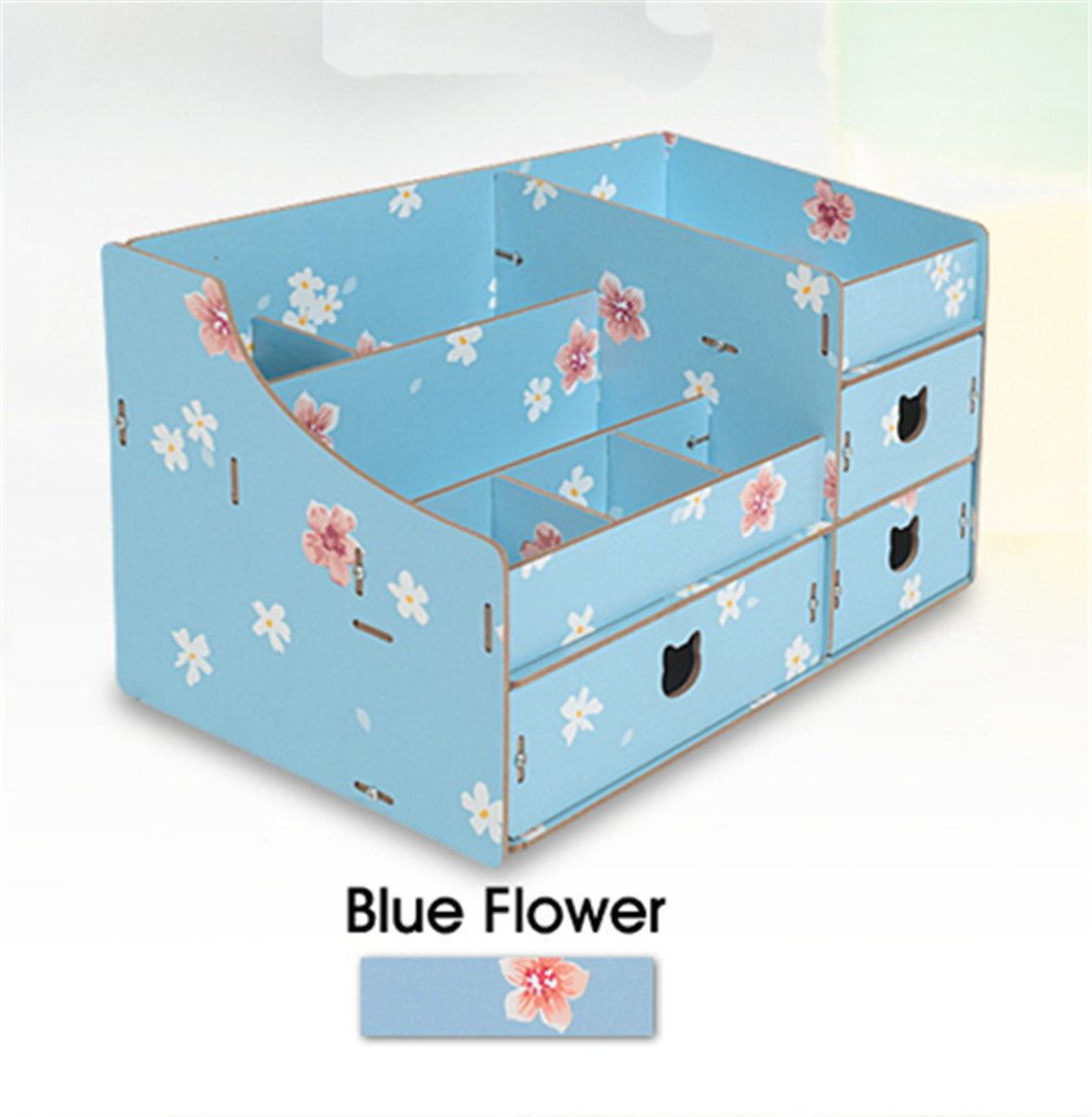 Wood Cosmetic Organizer Assembly Wooden Pink Makeup Organizer Drawers Factory Jewelry Box Blue