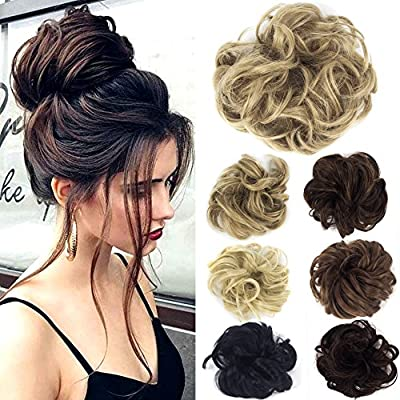 Lelinta Hair Bun Extensions Wavy Curly Messy Hair Extensions Donut Hair Chignons Hair Piece Wig Hairpiece