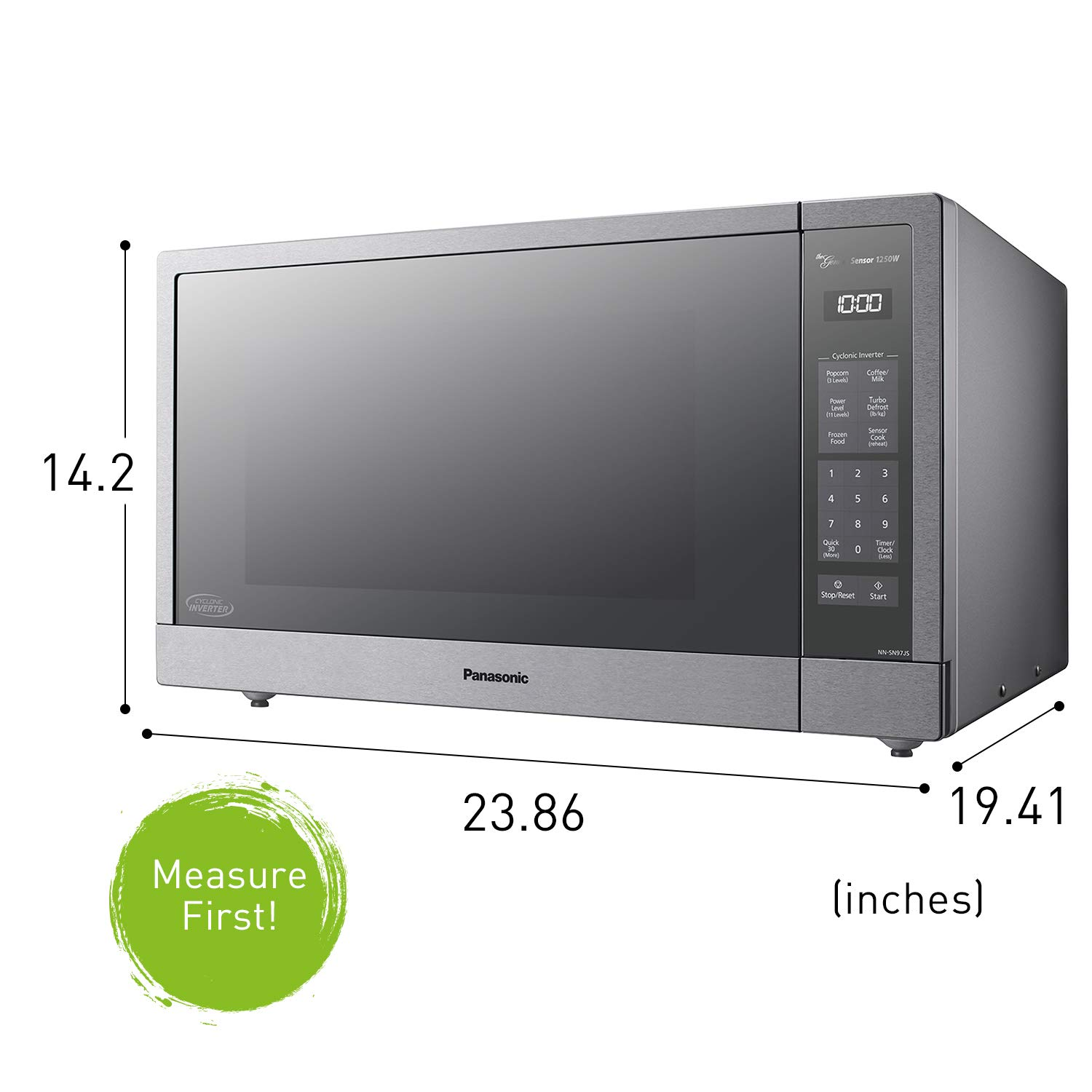 Panasonic Microwave Oven, Stainless Steel Countertop/Built-In Cyclonic Wave with Inverter Technology and Genius Sensor, 2.2 Cu. Ft, 1250W, NN-SN97JS (Silver) by Panasonic (Image #6)