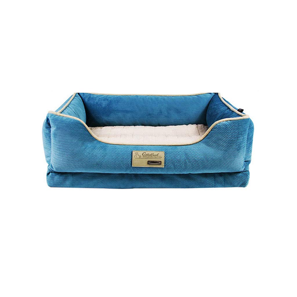 60x46x17cm PLDDY Dog Nest, Dog Sofa,Comfortable and Breathable, Four Seasons Usable,Removable Washable, Anti-slip Teddy Kennel, for Small and Medium Large Dogs, Pet Nest, Dog Beds, bluee (Size   60x46x17cm)