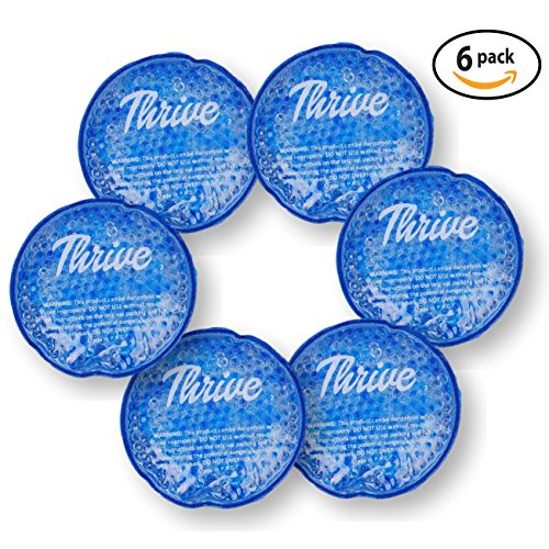 Round Hot & Cold Packs (6 PACK) - Heat or Ice Therapy - Small Flexible reusable gel beads with cloth fabric backing - Great For: Wisdom Teeth, Breastfeeding, Tired Eyes, (Heat Reusable Gel Pack)